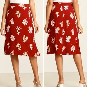 Madewell Bird Of Paradise Red Side Button Skirt 0